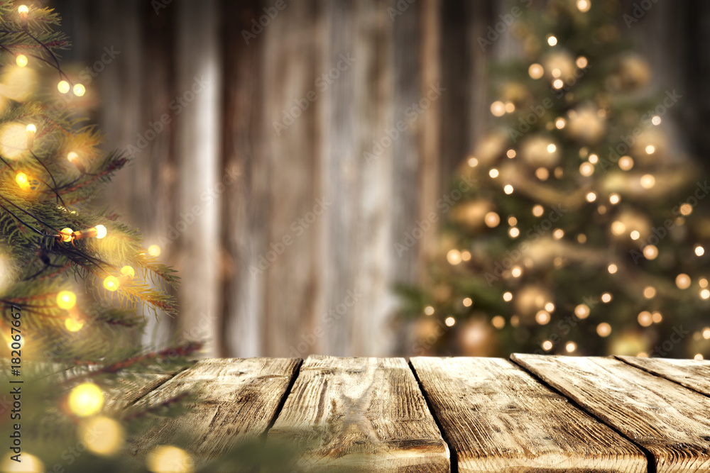 Fototapeta christmas time and desk of free space for your decoration.