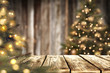 canvas print picture - christmas time and desk of free space for your decoration.
