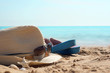 Hat with sunglasses and beach slippers on the sand against the blue sea