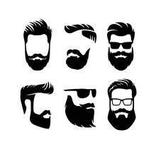 Set Bearded Men Faces Hipsters...