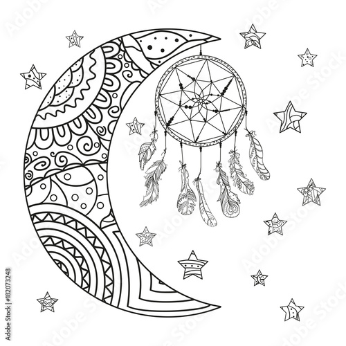 Half Moon And Stars Dreamcatcher Abstract Patterns On