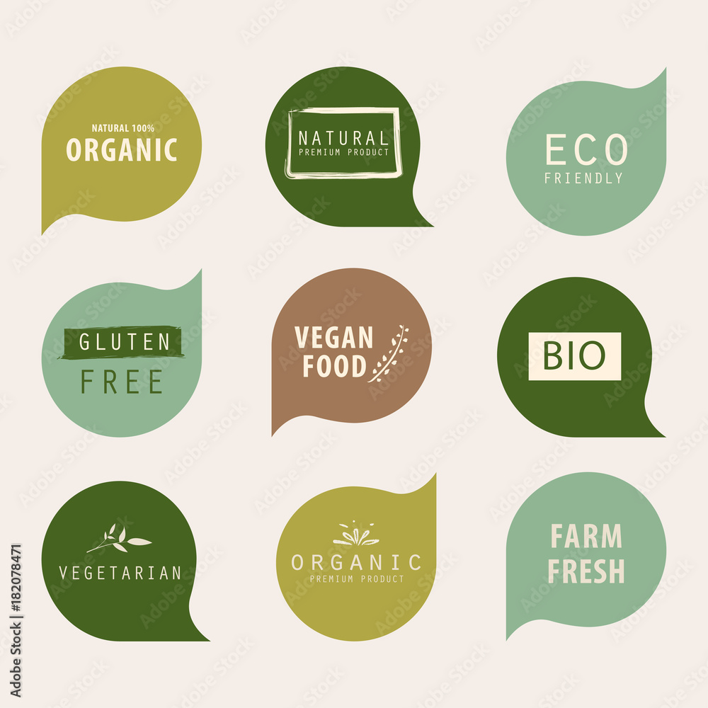 Fototapety, obrazy: natural and organic green banner or label design. farm fresh product element.