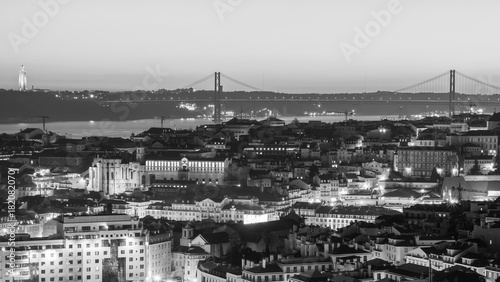 Cityscape of Lisbon, Portugal, at sunset
