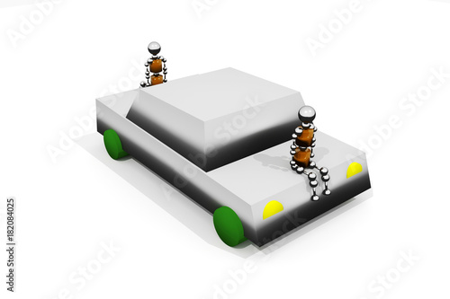 An anthropoid robots is sitting on the car. 3D rendering. Canvas Print