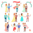 Wedding Icons Happy Couple on Vector Illustration