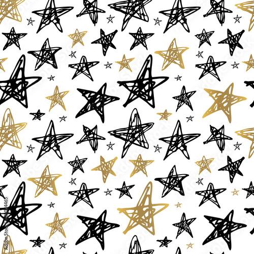 Cotton fabric Seamless Pattern Golden Black Whitw Hand Drawn