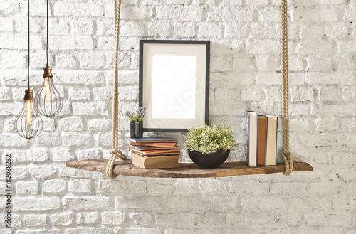 brick wall drift wood shelves and frame concept decor different style Billede på lærred