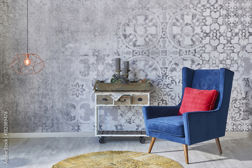 Fototapeta Grey wall decoration retro wallpaper with home objects living room style obraz