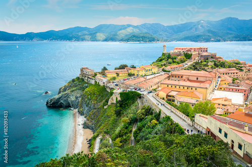 Fotobehang Toscane Portoferraio in Elba Island, view from the fortress walls, Tuscany, Italy