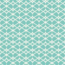 Vintage Seamless Pattern, Thin Wavy Lines, Elegant Mesh. Texture Of Lace, Weaving, Net, Smooth Lattice. Subtle Geometric Background. Aqua Green And Beige Colors. Decorative Design. - Stock Vector