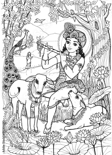 Lord Krishna the child of the cowherd boys plays the flute and the calves, the birds and the girl Radha listen to him in the spring jungle full of flowers Canvas Print
