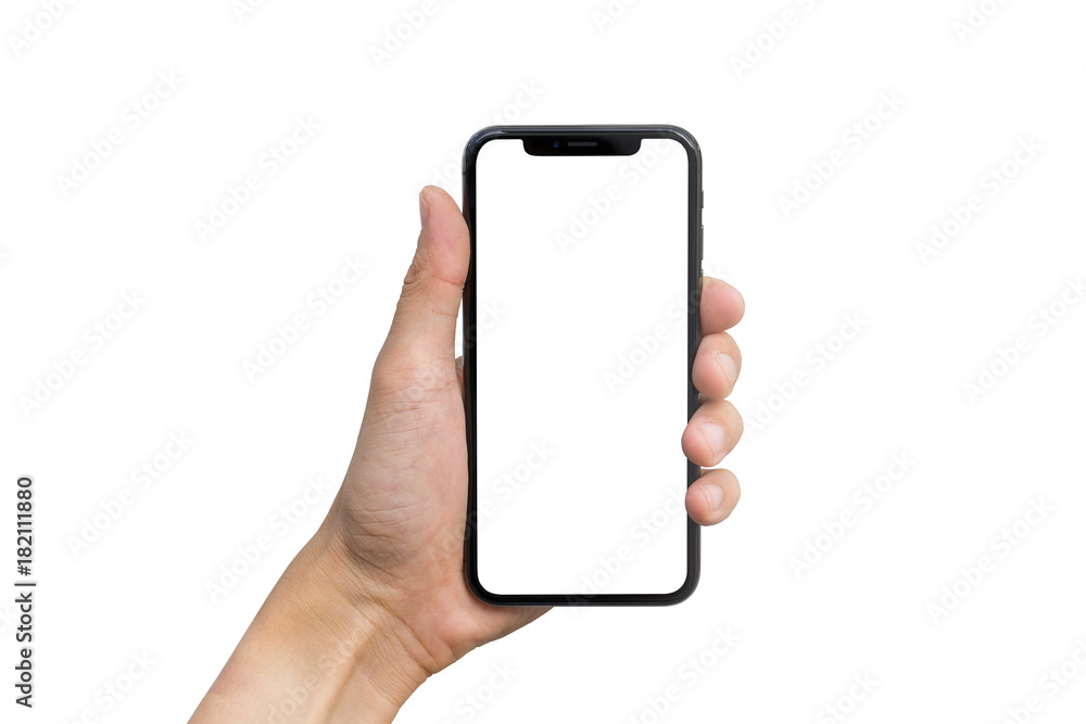 Fototapety, obrazy: Man's hand shows mobile smartphone with white screen in vertical position isolated on white background