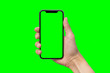 canvas print picture - Man's hand shows mobile smartphone with green screen in vertical position isolated on green background