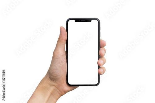 Photo  Man's hand shows mobile smartphone with white screen in vertical position isolat