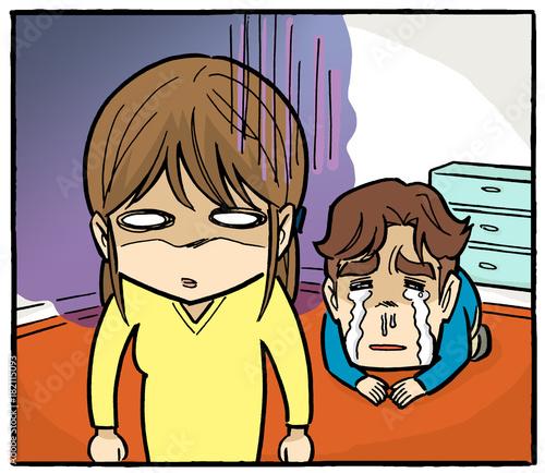 Fotografie, Obraz  怒る妻 泣いて謝る夫