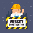 website under construction background with workers vector illustration graphic design