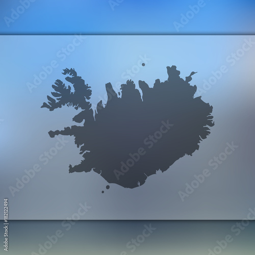 Iceland map. Blurred background with silhouette of Iceland map ...