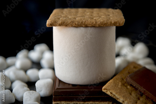 Fotografie, Obraz  Jumbo marshmallow, graham crackers with chocolate bar and mini marshmallow on bl
