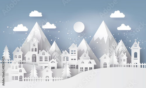Fototapeta Illustration of cityscape with  Urban Countryside with full moon and snow, Merry Christmas and winter season , paper art and craft style. obraz