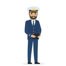 Bearded Captain In Blue Togger...