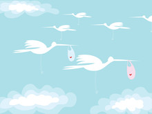 On The Postcard The Silhouette Of The Stork Carries A Child In Its Beak. On The Bag With The Child Painted A Heart. Sky And Clouds. Some Of Stork Back Without Baby.