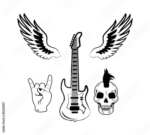 rock n roll symbol electric guitar punk skull icon buy this stock 12 String Acoustic Guitar rock n roll symbol electric guitar punk skull icon