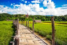 Zutongpae Bridge On Rice Field,Mae Hong Son Nature Background