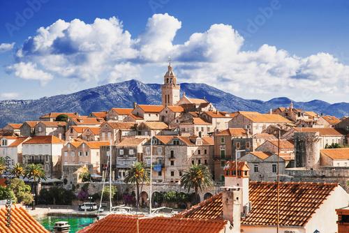 Fotografie, Tablou  View of the Korcula town, Korcula island, Dalmatia, Croatia