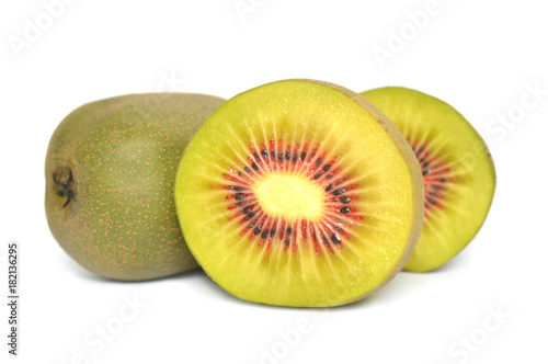 Red kiwi fruit, China, on white background