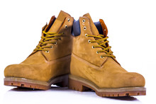 Pair Of Brown Hiking Boots Isolate On A White Background