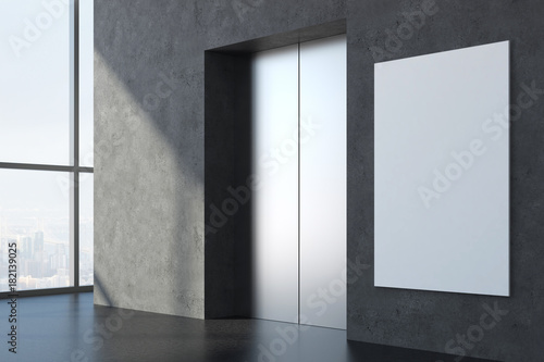 Interior with elevator and banner Canvas Print