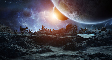 Fototapeta Astronauts exploring an asteroid 3D rendering elements of this image furnished by NASA