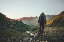 Man Hiking At Sunset Mountains With Heavy Backpack Travel Lifestyle Wanderlust Adventure Concept Summer Vacations Outdoor Alone Into The Wild