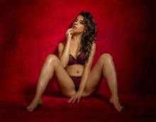 Brunette Girl In Lingerie On Red Textured Background, Sensual Scene