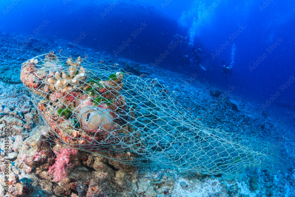 Fototapeta An abandoned fishing net (Ghost net) stuck on a tropical coral reef