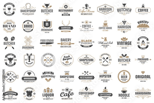 Foto op Canvas Restaurant Restaurant Retro Vector Logo for banner