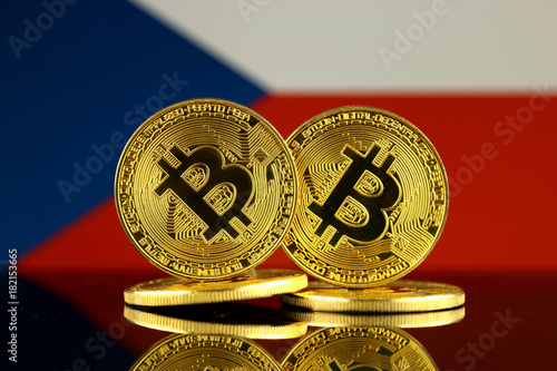 Photo  Physical version of Bitcoin and Czech Republic Flag. Close up.