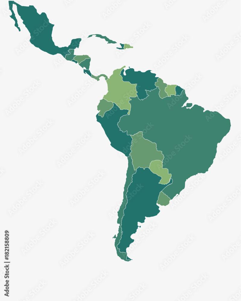 Fototapeta Latin/South America Map - High detailed isolated vector illustration