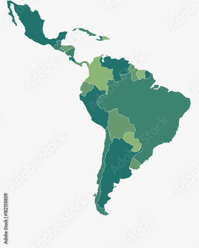 Fototapeta Latin/South America Map - High detailed isolated vector illustration obraz