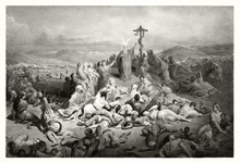 Reproduction Of The Brazen Serpent, Biblical Illustration. Old Illustration By Gustave Dore. Publ. In London, 1883