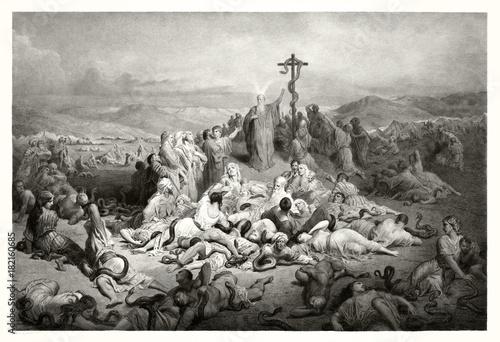 Obraz na płótnie Reproduction of The Brazen Serpent, Biblical illustration