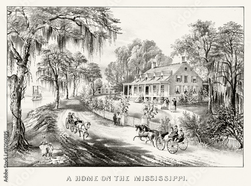 Fotomural Classic colonial rich house on the bank of Mississippi river in front of a road and ancient chariots