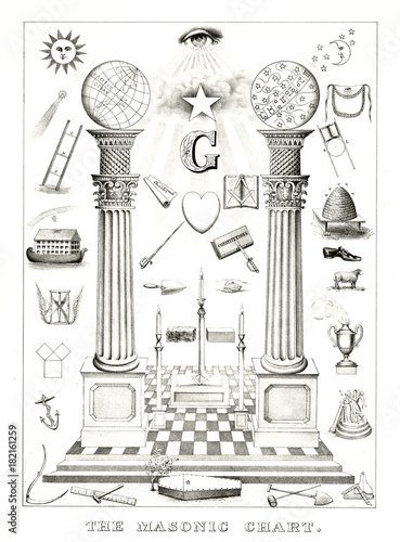 Photo  Ancient reproduction of collection of masonic symbols