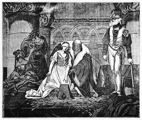 Fényképezés Medieval beheading of Jane Grey, young woman accompained by a lord to the stump while the hangman wait for her