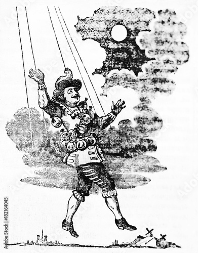 Cyrano de Bergerac similar to a marionette reaching the moon Canvas Print