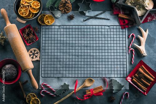 Foto op Aluminium Retro Weihnachts Gebäck (kekse zubereiten)