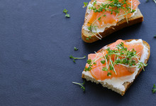 Canape With Red Fish Salmon An...