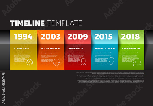 Section Colorful Paper Timeline Infographic On Dark Background