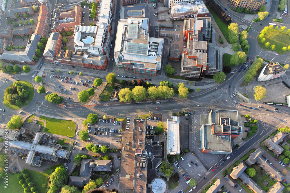 Fototapeta Above the city. Aerial view of streets and houses in Bristol, England.