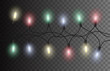 Vector seamless Christmas light set garland isolated on background